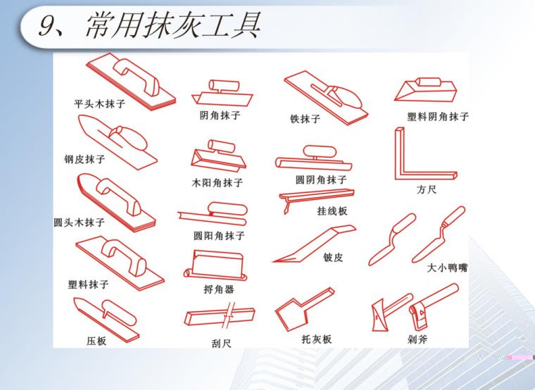 施工标准做法之抹灰工艺培训资料-03 常用抹灰工具