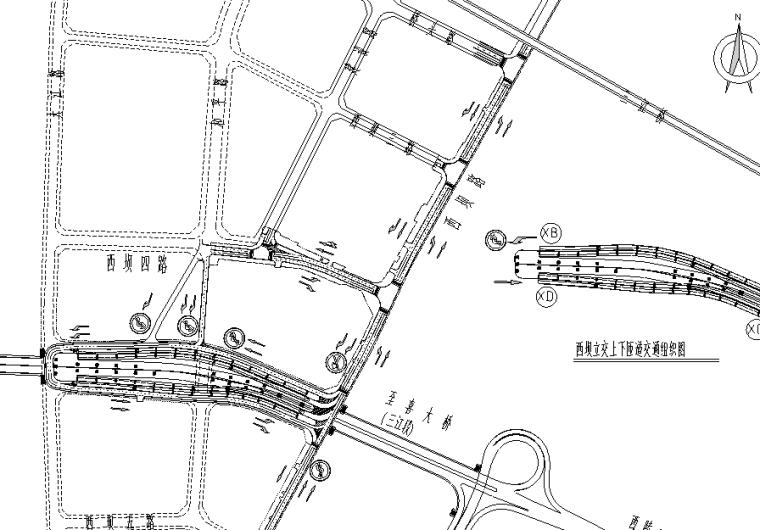 [湖北]城市大桥立交接线支路交通工程图纸