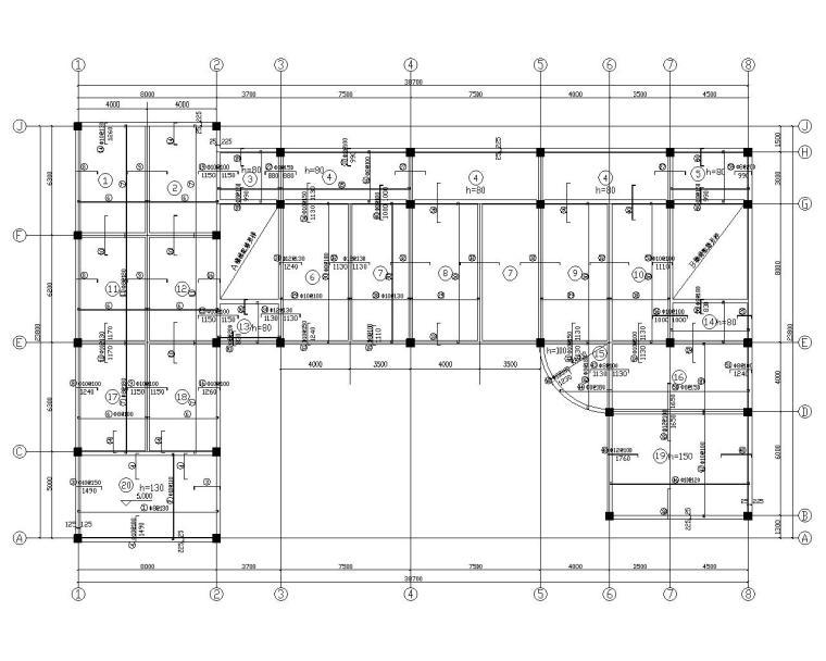 三层框架结构综合办公楼施工图(CAD)