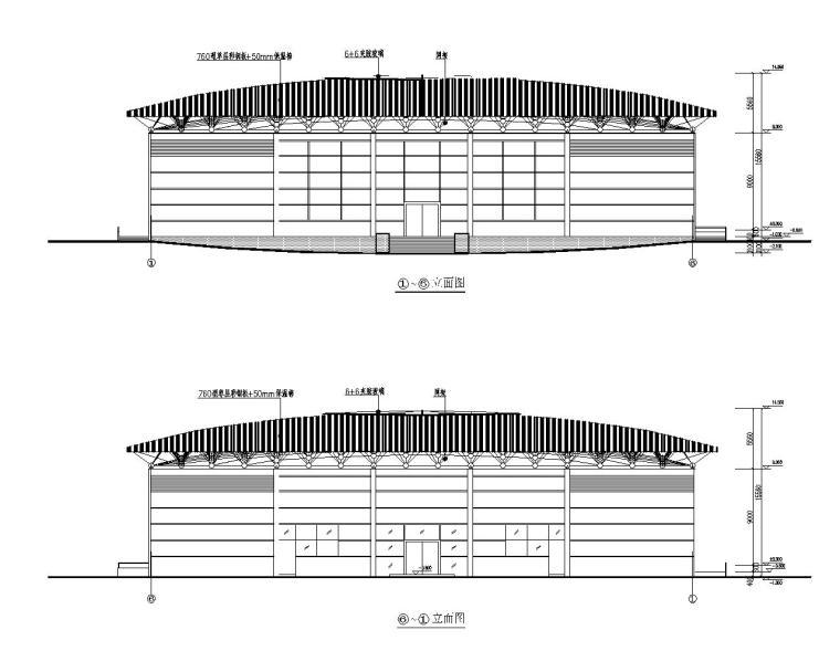 某风雨操场网架结构施工图(CAD含建筑图)