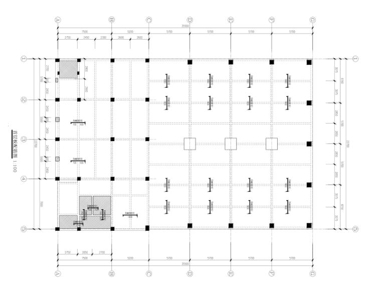 3层框架结构文体中心结构施工图_门刚屋盖