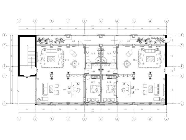 [北京]350㎡领导办公室设计施工图+SU模型