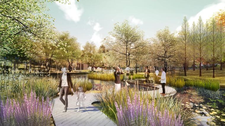 滨水公园湿地公园园林景观效果图PSD源文件