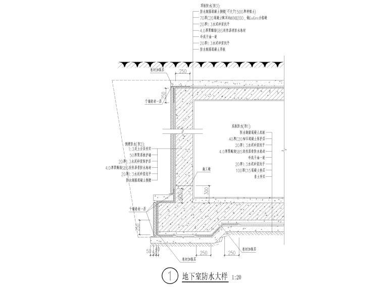 地下室节点大样图(防水、集水坑、楼梯等)