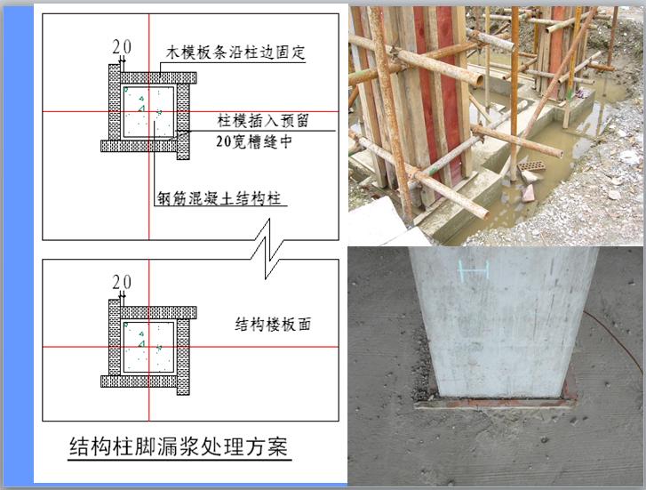 结构柱脚漏浆处理方案