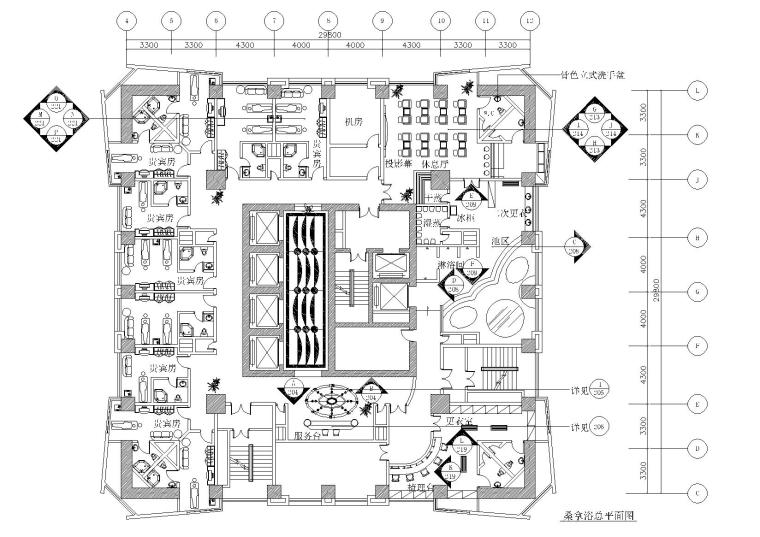 现代休闲桑拿休闲会所设计施工图
