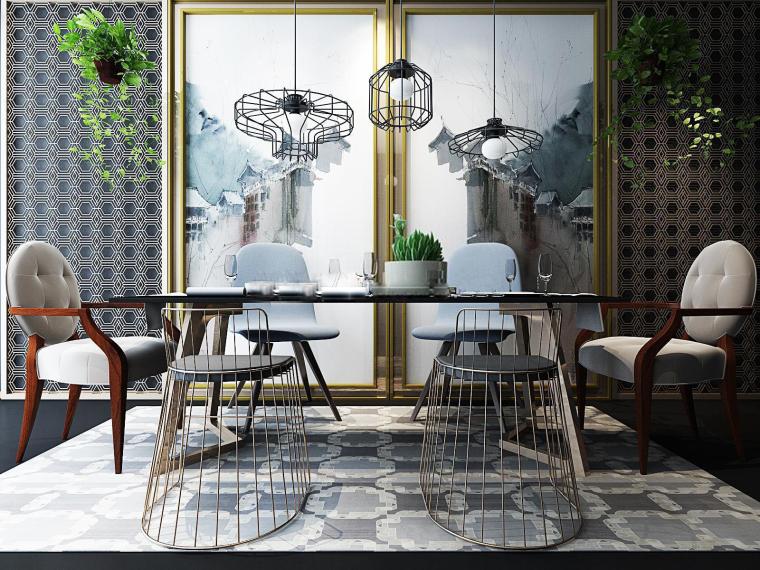 室内北欧餐桌椅组合3D模型+效果图