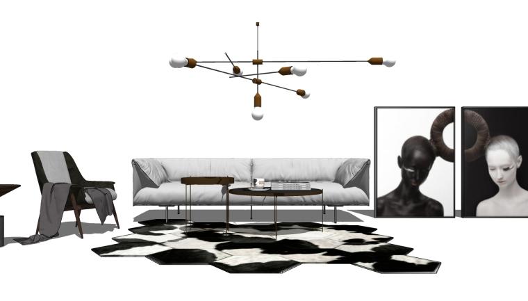 室内家装_现代轻奢客厅SU模型+效果图