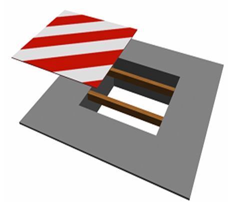 剪力墙结构安全文明施工专项方案-边长在200~500mm的水平洞口防护效果图