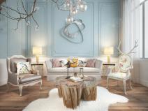简欧客厅沙发茶几吊灯组合3D模型+效果图