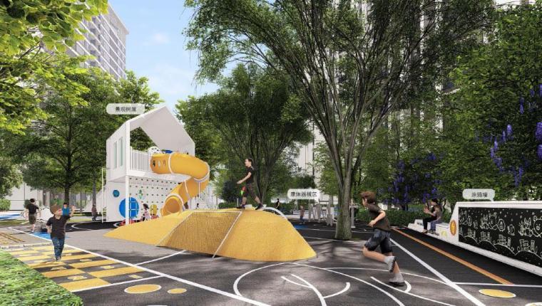 [福建]厦门现代风格住宅区景观设计方案-儿童活动区景观效果图1