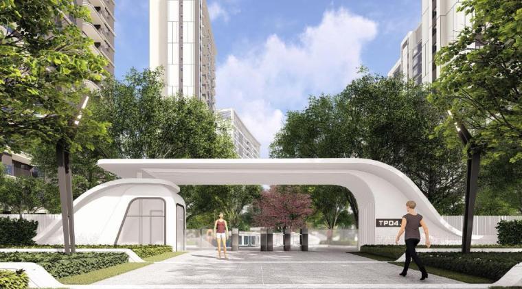 [福建]厦门现代风格住宅区景观设计方案-入口景观效果图2