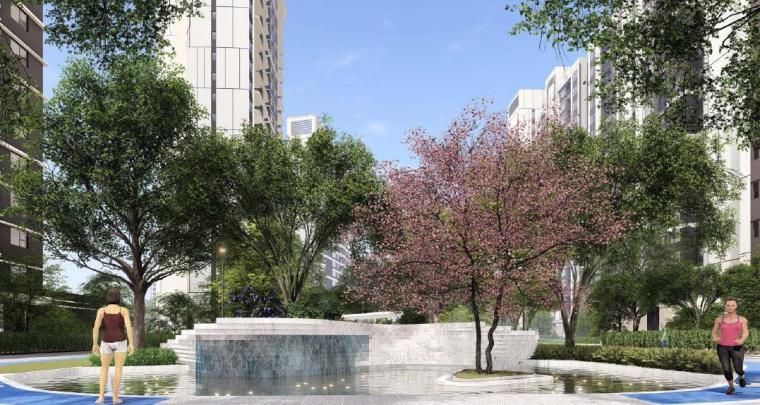 [福建]厦门现代风格住宅区景观设计方案-住宅区景观效果图1