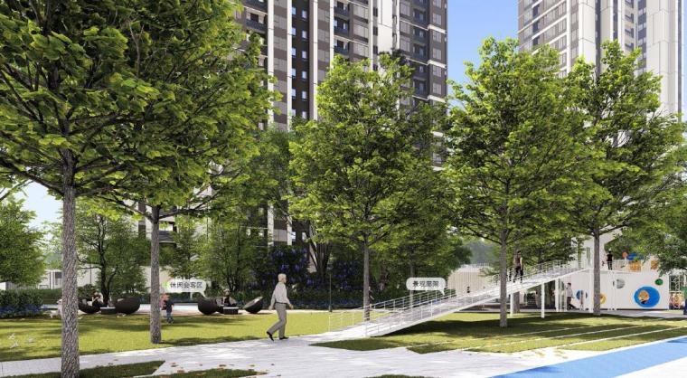 [福建]厦门现代风格住宅区景观设计方案-住宅区景观效果图4