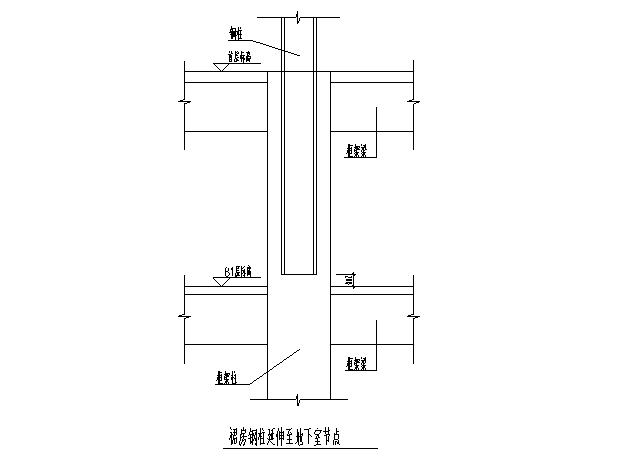 裙房钢柱延伸至地下室节点