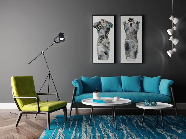 室内北欧沙发组合3D模型+效果图
