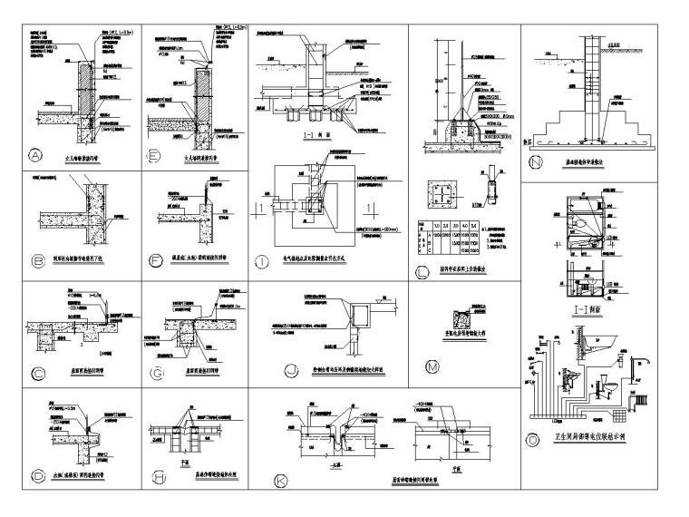 [广东]15层高校教学楼电气施工图(2018)-知识产权人才基地图纸电气含招标资料大全-14防雷大样图