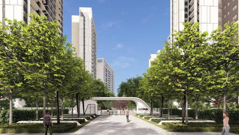 [福建]厦门现代风格住宅区景观设计方案-入口景观效果图