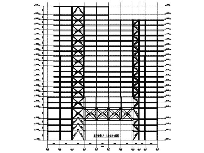 酒店塔楼结构立面图
