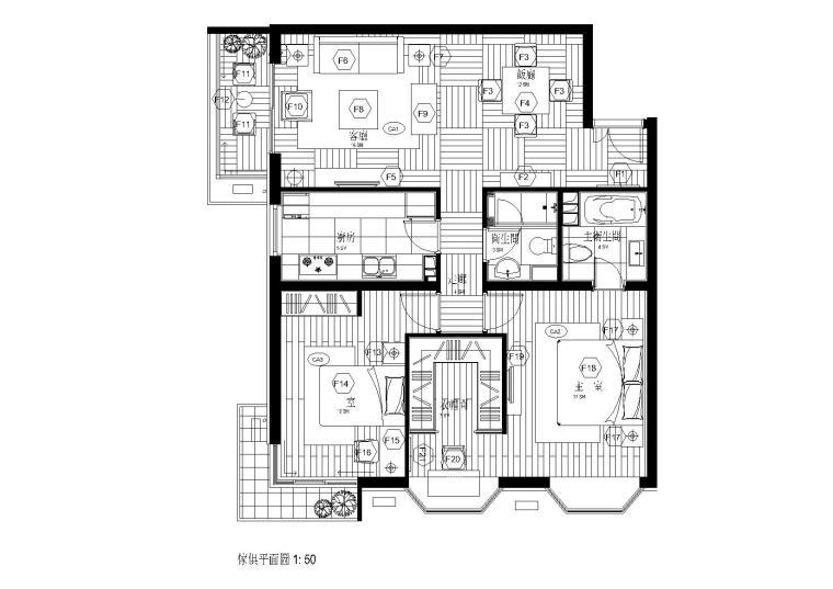 [福建]福州家装二居室样板间施工图
