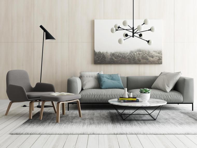 现代家装北欧沙发组合3D模型+效果图