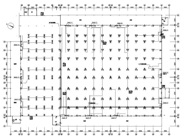 八套2020年最新工业建筑电气图纸-[广东]知名汽车生产总装车间电气施工图2020-1应急照明平面图