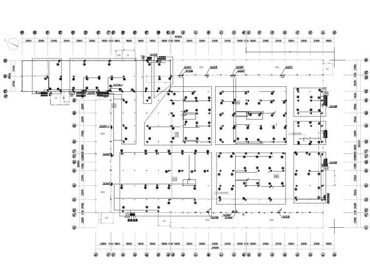 八套2020年最新工业建筑电气图纸-[广东]知名汽车生产总装车间电气施工图2020-4空调室内机配电平面图
