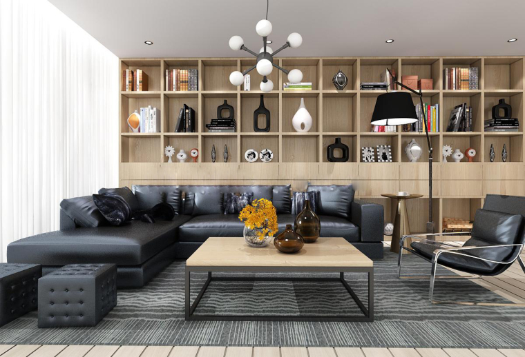 现代皮革沙发书柜组合3D模型+效果图