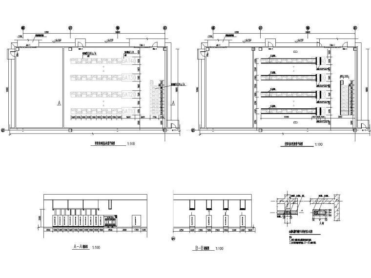 八套2020年最新工业建筑电气图纸-[广东]知名汽车生产总装车间电气施工图2020-5变配电间平面布置图、变配电间预埋件平面图