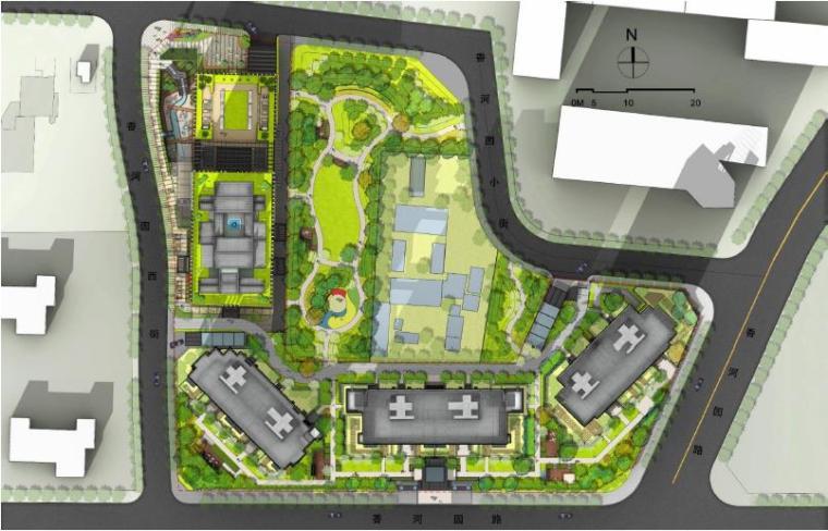 [北京]东城现代风格居住区景观设计方案