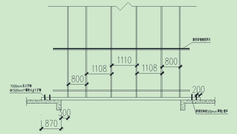 悬挑式脚手架安全专项施工方案-采光井脚手架剖面图