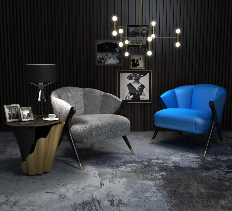 室内家装现代沙发组合3D模型+效果图