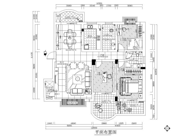 现代二居室客餐厅一体化施工图
