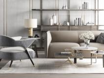 现代沙发椅子组合3D模型+效果图