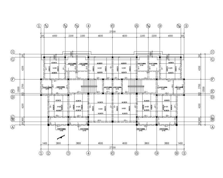 双拼三层砖混结构别墅施工图(CAD含建筑)-结构平面图
