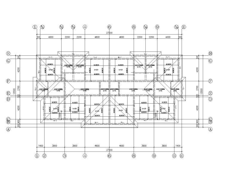 双拼三层砖混结构别墅施工图(CAD含建筑)-屋顶结构平面图