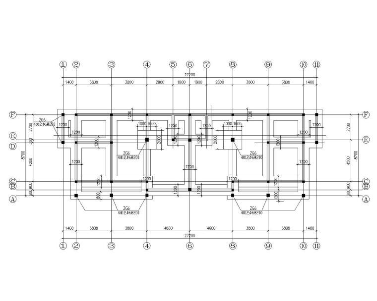 双拼三层砖混结构别墅施工图(CAD含建筑)-基础布置图