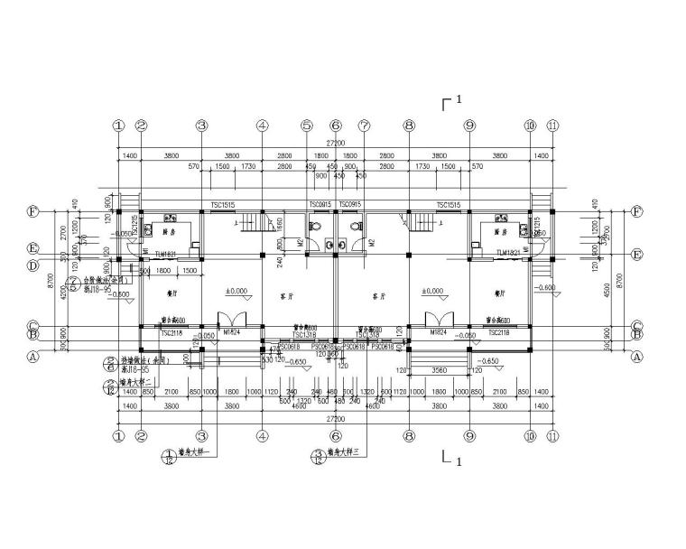 双拼三层砖混结构别墅施工图(CAD含建筑)-建筑平面图
