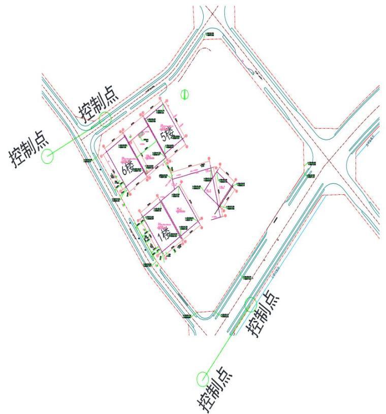 超高层商业综合体施工测量方案2018-控制点与主楼位置关系(控制网图)