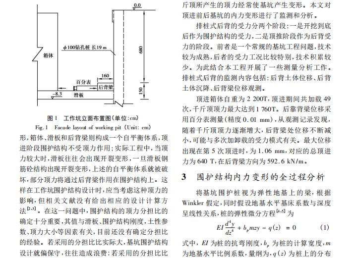 箱涵顶进对基围护结构内力变形的影响分析