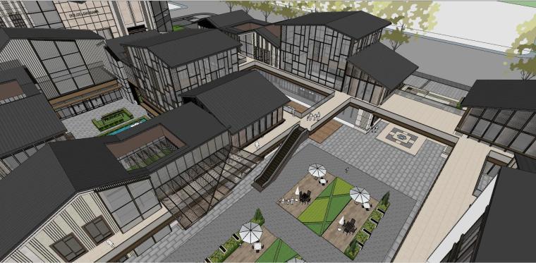 知名企业中式+新中式商业街建筑模型设计