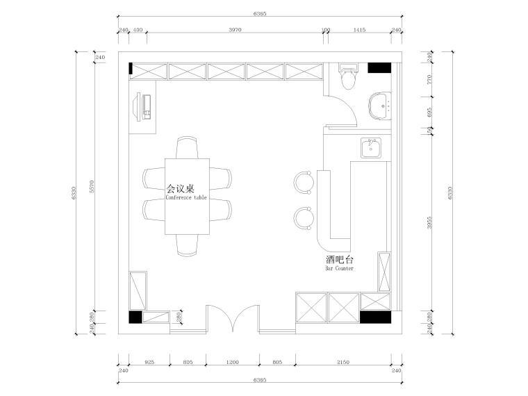 [广州]34㎡现代居酒屋室内装饰设计施工图