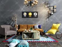 现代吊灯沙发组合3D模型+效果图