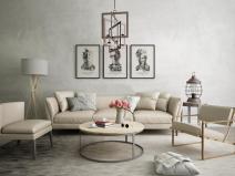 米兰现代沙发休闲椅组合3D模型+效果图