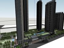 湖北知名企业现代高层豪宅建筑模型设计