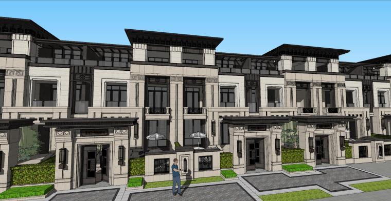 欧式复古小别墅资料下载-[浙江]杭州新中式高层+别墅豪宅建筑模型