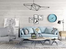 北欧现代沙发组合3D模型+效果图