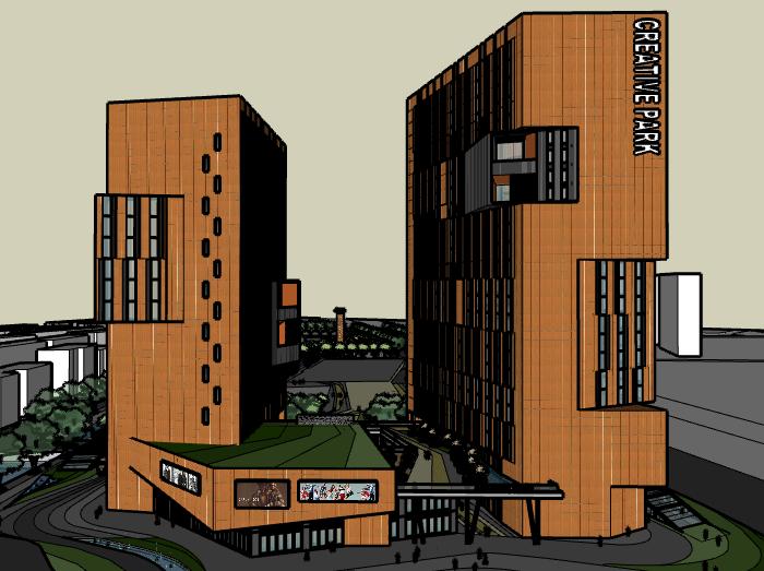 高层创意大厦建筑SU模型设计