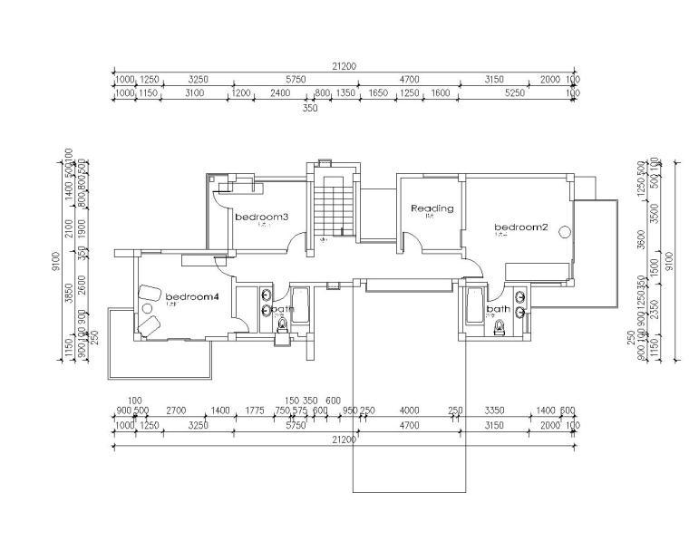 山地二层农村住宅结构施工图(CAD含建筑)
