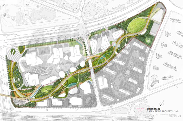 上海某知名地产绿轴公园景观方案设计 2 总平面图